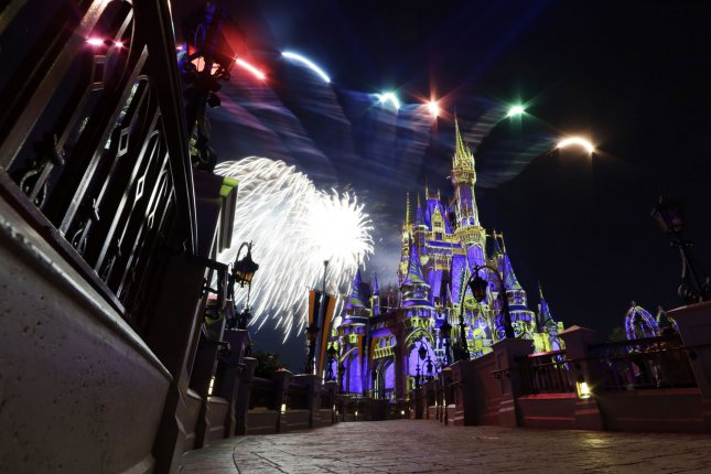 Guests watch the Magic Kingdom fireworks show at the Walt Disney World theme park and resort October 29. Disney said it plans to reopen the Magic Kingdom on July 11. File Photo by John Angelillo/UPI