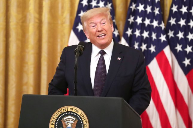President Donald Trump introduces a plan to help prevent suicide among U.S. veterans Wednesday in the East Room of the White House. Photo by Michael Reynolds/UPI