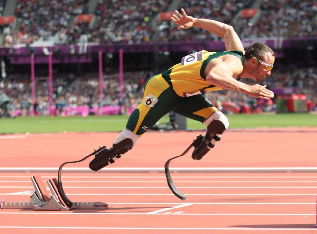 South Africa's Oscar Pistorius leaves the blocks in Round One of the Men's 400 meters on the second day of the Athletics in the Olympics stadium at the London 2012 Summer Olympics on August 4, 2012 in London. UPI/Hugo Philpott