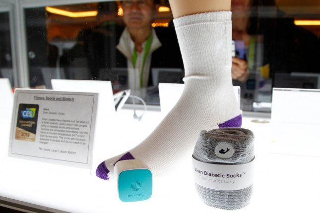 Machine-washable Siren diabetic socks with sensors embedded in the fabric are on display in the Innovation Awards Showcase during the 2018 International CES at the Sands Expo convention center in Las Vegas on Friday. Photo by James Atoa/UPI