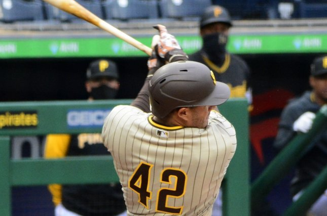 San Diego Padres third baseman Manny Machado homers in the first inning against the Pittsburgh Pirates on Thursday at PNC Park in Pittsburgh. Photo by Archie Carpenter/UPI