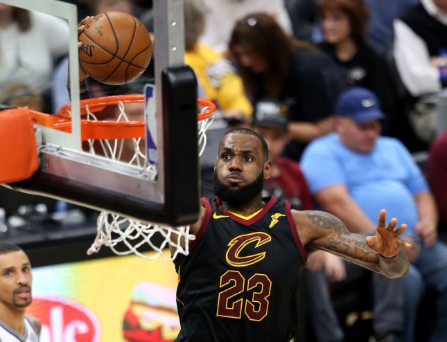 LeBron James and the Cleveland Cavaliers visit the Los Angeles Lakers on Sunday. Photo by Aaron Josefczyk/UPI