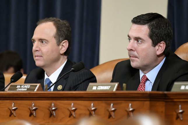 House intelligence committee Chair Devin Nunes (R) and ranking Democrat Adam Schiff hear testimony during hearings on Russia's involvement in the 2016 presidential election on Capitol Hill on March 20, 2017. File Photo by Mike Theiler/UPI