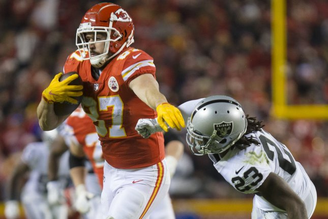 Kansas City Chiefs tight end Travis Kelce (L) had at least 85 receiving yards in each of his first four games this season. File Photo by Kyle Rivas/UPI