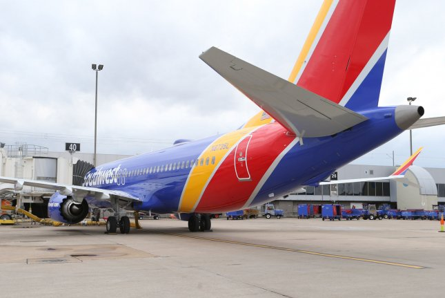 A Southwest 737 Max 8 is parked at St. Louis-Lambert International Airport in St. Louis, Mo., on March 13. File Photo by Bill Greenblatt/UPI