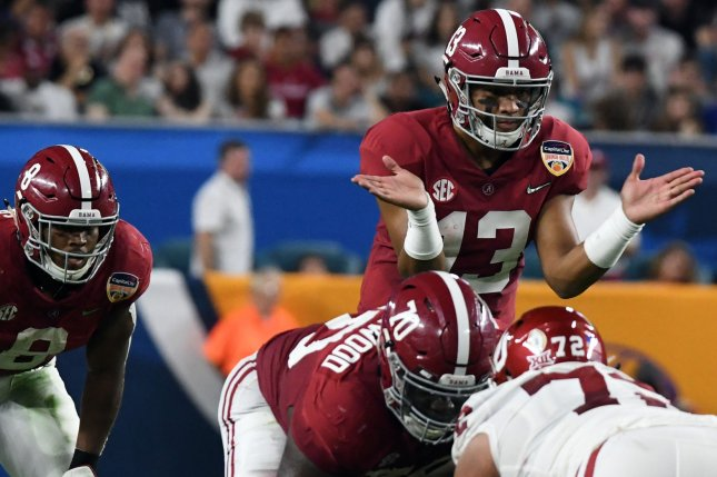 NFL front office executives are concerned about former Alabama Crimson Tide quarterback Tua Tagovailoa's (13) injury history, but he still is expected to be one of the first quarterbacks chosen in the 2020 NFL Draft. File Photo by Gary I Rothstein/UPI