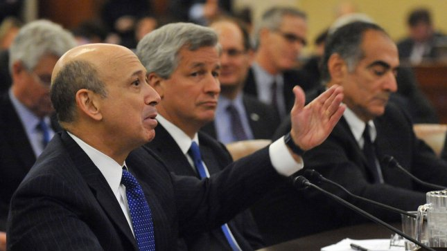 From left to right, Goldman Sachs Group Chairman and CEO Lloyd Blankfein, JP Morgan Chase Chairman and CEO James Dimon. UPI/Kevin Dietsch