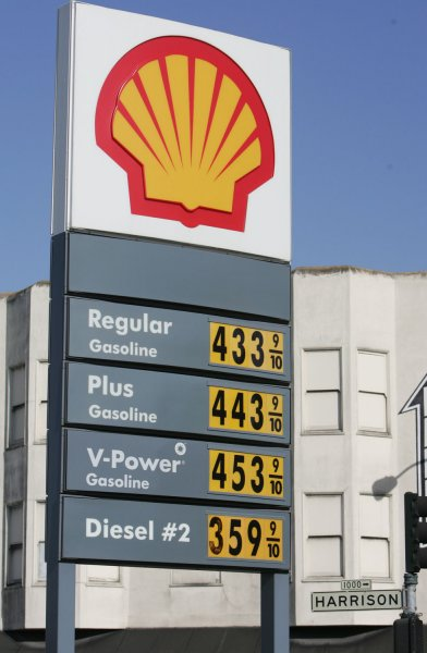 The Shell gas station at the corner of Sixth and Harrison streets in San Francisco sells high test gas for over $4.50 a gallon on May 23, 2007. A bill introduced by Rep. Bart Stupak (D-MI) that would outlaw price gouging passed the House. (UPI Photo/Terry Schmitt)
