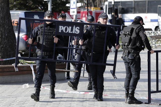 Turkish police put up barriers Istanbul's tourist hub of Sultanahmet, Turkey, in February. A bomb was detonated in Ankara on Sunday night, killing at least five people. Photo by Ali Turkel/UPI
