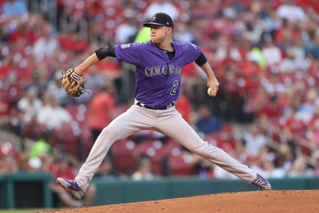 Colorado Rockies starting pitcher Kyle Freeland delivers a pitch to the St. Louis Cardinals in the first inning on August 1, 2018 at Busch Stadium in St. Louis. Photo by Bill Greenblatt/UPI