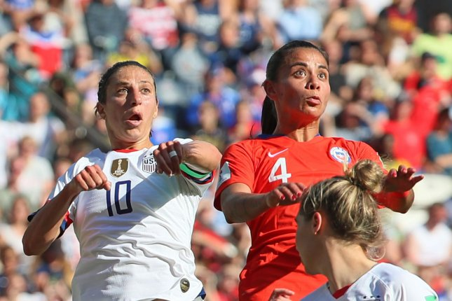 United States Women's National Team soccer star Carli Lloyd (L) scored twice in a 3-0 win against Chile at the 2019 FIFA Women's World Cup Sunday in Paris. Photo by David Silpa/UPI