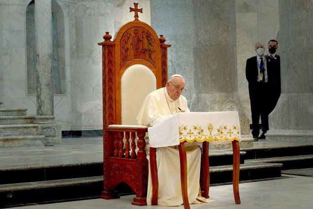 Pope Francis condemned racism as a virus in the wake of the slaying of six Asian women in shootings at massage parlors in Atlanta and the observance of International Day for the Elimination of Racial Discrimination.Photo by press office of Iraqi Prime Minister/UPI