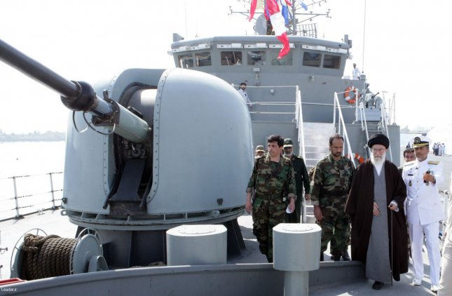 Ayatollah Ali Khamenei (R) is seen on Iran's first guided-missile destroyer Jamaran in southern Iran, on February 19, 2010. Iran will send a warship and submarine to the Red Sea and Gulf of Aden. UPI/HO
