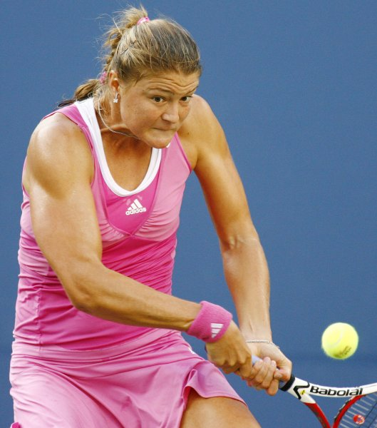 Dinara Safina of Russia, sixth seed, returns the ball to Serena Williams, U.S.A, fourth seed, in semi-final play at the U.S. Open tennis championship at the U.S. National Tennis Center on September 5, 2008 in Flushing Meadows, New York. (UPI Photo/Monika Graff)