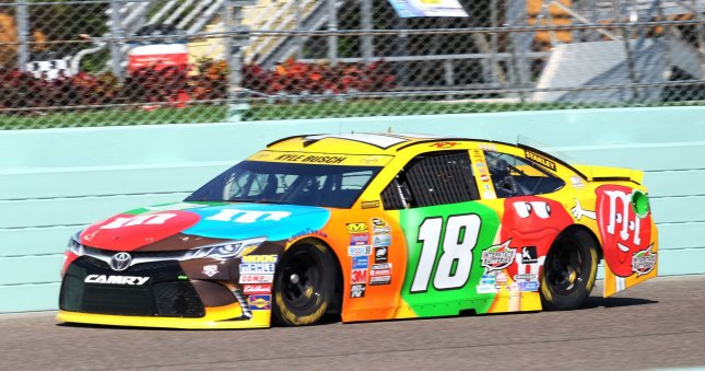 Kyle Busch takes a practice lap during a recent race. Photo By Gary I Rothstein/UPI