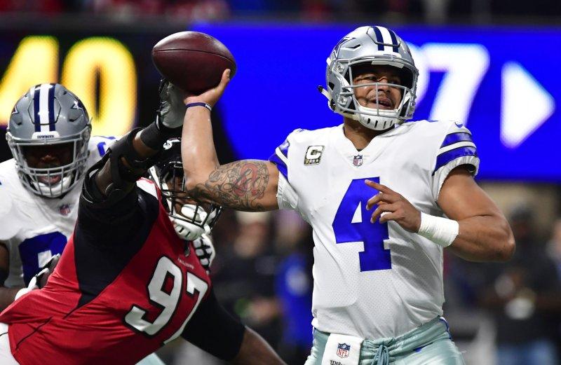 Dallas Cowboys quarterback Dak Prescott attempts to pass during a game against the Atlanta Falcons earlier this month. Photo by David Tulis/UPI