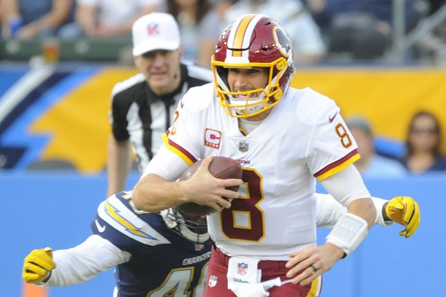 Los Angeles Chargers' Chris McCain sacks Washington Redskins quarterback Kirk Cousins in the second half at StuHub Center in Carson, California on December 10, 2017. File photo by Lori Shepler/UPI