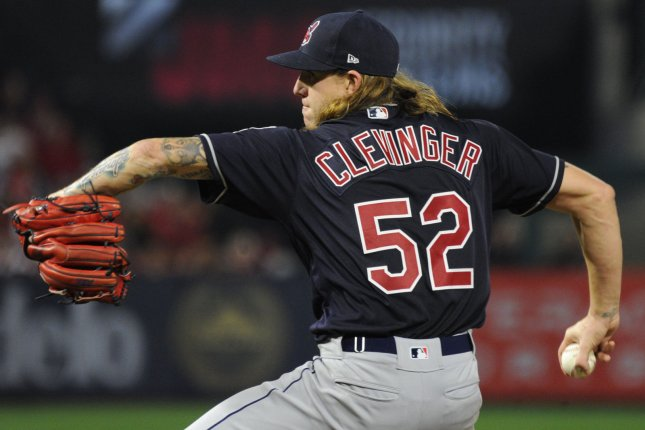 Mike Clevinger and the Cleveland Indians take on the Toronto Blue Jays on Sunday. Photo by Lori Shepler/UPI.