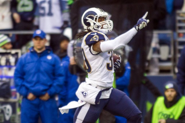 Los Angeles Rams running back Todd Gurley (30) runs for a 57-yard touchdown against the Seattle Seahawks during the second quarter on December 17, 2017 at CenturyLink Field in Seattle, Washington. Photo by Jim Bryant/UPI