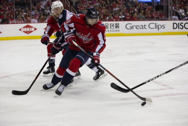 Washington Capitals defenseman Christian Djoos (29) used a one-hand to poke to score a a goal Monday night against the Los Angeles Kings. File Photo by Alex Edelman/UPI