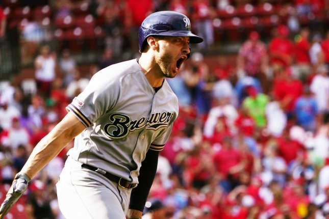 Milwaukee Brewers left fielder Ryan Braun is now hitting .276 with 20 home runs and 66 RBIs on the season after smacking a grand slam against the St. Louis Cardinals Sunday in St. Louis. Photo by Bill Greenblatt/UPI