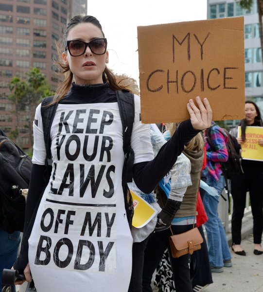 An abortion rights advocate protests at the Stop Abortion Bans rally in Los Angeles, Calif., on May 21, 2019. File Photo by Chris Chew/UPI