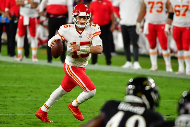Kansas City Chiefs quarterback Patrick Mahomes (15) completed 31 of 42 passes for 385 yards and four touchdowns in a win over the Baltimore Ravens Monday in Baltimore. Photo by David Tulis/UPI