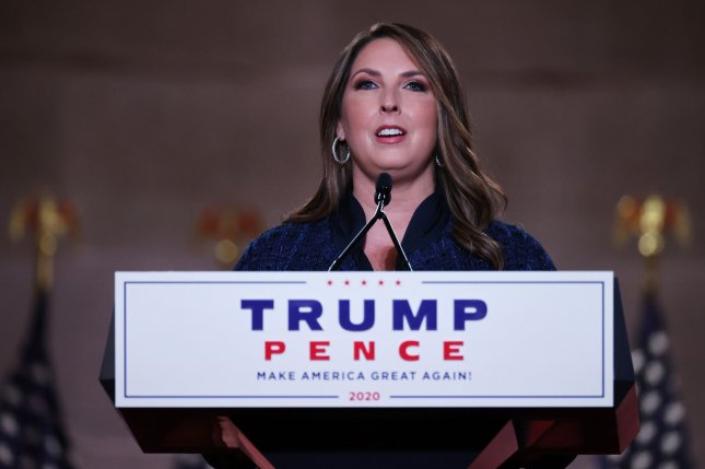 Republican National Committee Chair Ronna McDaniel speaks during the party's national convention from the Mellon Auditorium in Washington, D.C., on August 24. File Photo by Chip Somodevilla/UPI/Pool