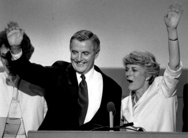 Democratic presidential candidate Walter Mondale and running mate Geraldine Ferraro wave to the crowd at the Democratic National Convention in San Francisco on July 19, 1984. Ferraro was the first female vice presidential candidate in a major U.S. political party. (Mondale lost in the general election to Ronald Reagan, who was re-elected president.) File Photo/UPI