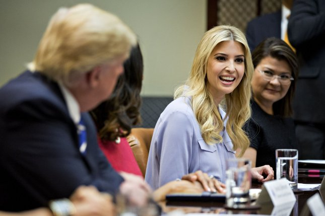 Ivanka Trump, daughter of President Donald Trump, speaks during an administration meeting at the White House on Monday. Trump will take an official unpaid job in the administration after questions were raised about whether her role as an informal adviser violated ethics rules related to her business empire. Pool Photo by Andrew Harrer/UPI