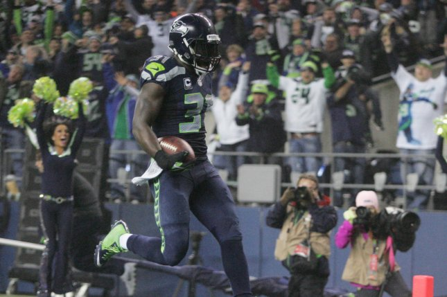 Seattle Seahawks strong safety Kam Chancellor (31) returns an interception 90 yards for a touchdown against the Carolina Panthers on January 10, 2015 at CenturyLink Field in Seattle, Washington. File photo by Jim Bryant/UPI