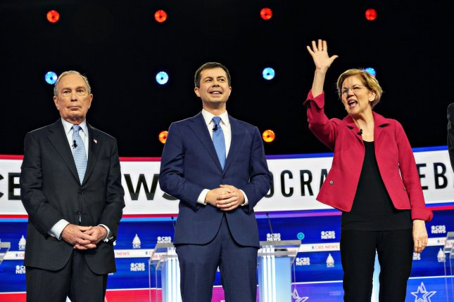 Then-Democratic presidential candidate and Massachusetts Sen. Elizabeth Warren appears at a primary debate in Charleston, S.C., on February 25. File Photo by Richard Ellis/UPI