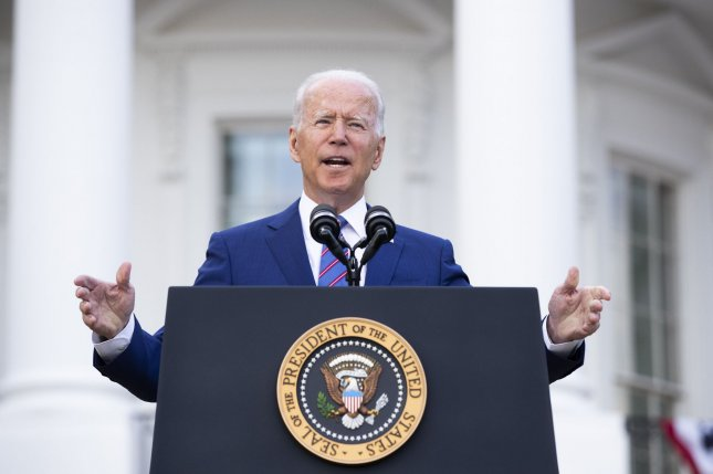 President Joe Biden delivers remarks on the South Lawn of the White House during an Independence Day celebration in Washington, D.C., on Sunday. Photo by Michael Reynolds/UPI