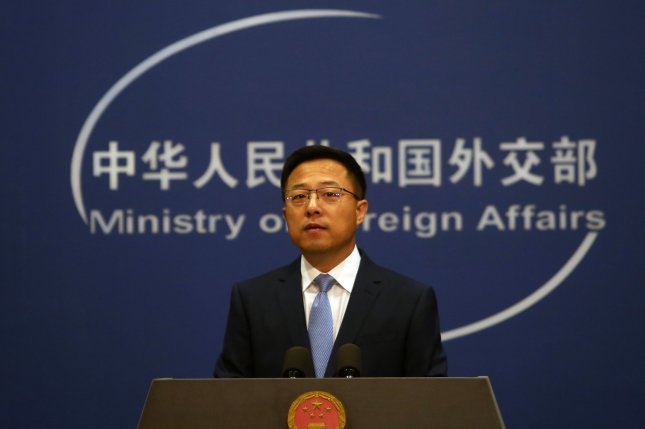 China's Foreign Ministry spokesperson Zhao Lijian, pictured at an October 2020 news conference, on Friday called on the United States to withdraw troops from Taiwan.File Photo by Stephen Shaver/UPI
