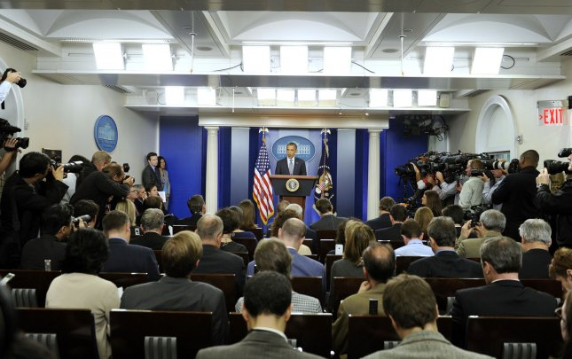 U.S. President Barack Obama, speaking in the Brady Press Briefing Room at the White House Oct. 21, 2011, said U.S. troops would leave Iraq by the end of the year. UPI/Roger L. Wollenberg