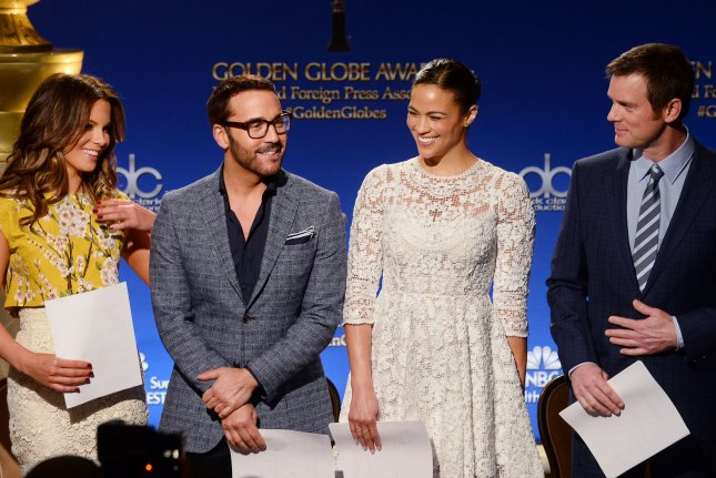 Actors Kate Beckinsale, Jeremy Piven, Paula Patton and Peter Krause (L-R) prepare to announce the nominations for 72nd annual Golden Globe Awards at the Beverly Hilton Hotel in Beverly Hills, California on December 11, 2014. Winners will be announced during an NBC telecast on January 11, 2015. UPI/Jim Ruymen