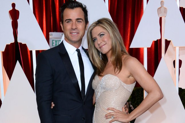 Justin Theroux and Jennifer Aniston arrive at the 87th Academy Awards on Feb. 22. Theroux shared his first photo of Aniston on his new Instagram account naming her his #WCW. File Photo by Jim Ruymen/UPI
