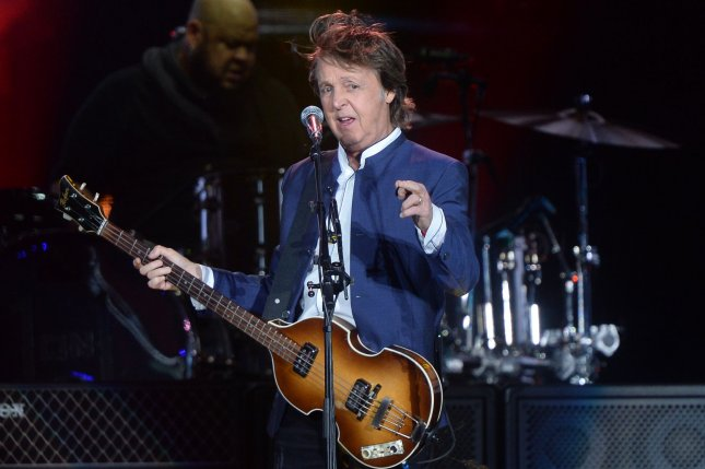 Paul McCartney performs onstage during Desert Trip at the Empire Polo Field in Indio, California on October 15, 2016. McCartney's Saturday set included a surprise appearance from Rihanna to perform their 2015 single FourFiveSeconds. Photo by Jim Ruymen/UPI