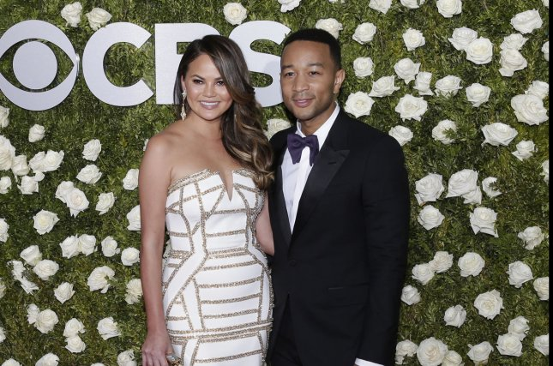 John Legend (R) and Chrissy Teigen attend the Tony Awards on Sunday. Photo by John Angelillo/UPI