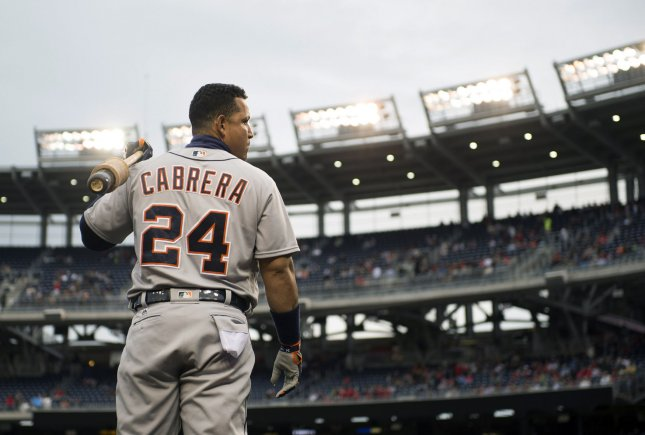 The Detroit Tigers will be without Miguel Cabrera for Friday's game against the Chicago White Sox. Photo by Kevin Dietsch/UPI