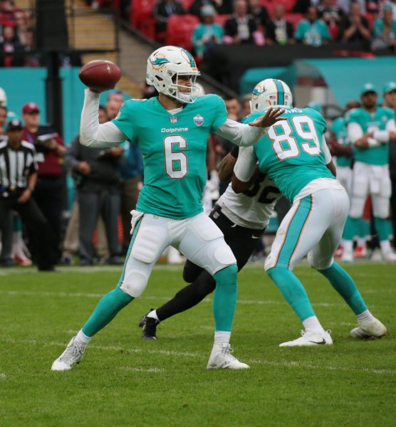 Miami Dolphins quarterback Jay Cutler drops back to pass during a game against the New Orleans Saints in October. Photo by Hugo Philpott/UPI