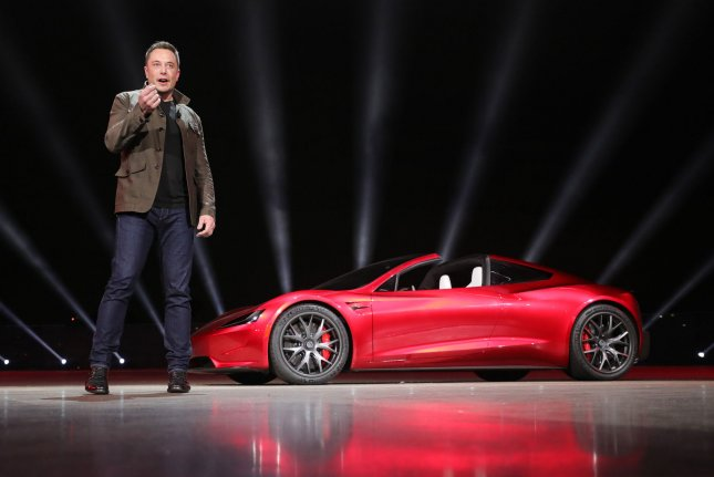 Tesla Motors CEO Elon Musk speaks to a crowd in Hawthorne, Calif., on November 16, 2017. File Photo by Tesla/UPI