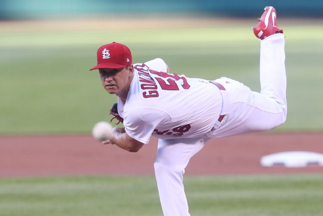 Former St. Louis Cardinals starting pitcher Marco Gonzales was traded to the Seattle Mariners in 2017. He was the Mariners' opening day starter last year. File Photo by Bill Greenblatt/UPI