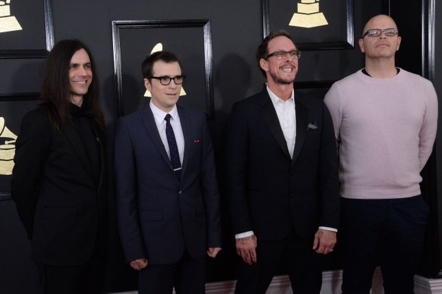Weezer, consisting of Brian Bell, Rivers Cuomo, Scott Shriner and Patrick Wilson, from left to right, performed Friday on Good Morning America. File Photo by Jim Ruymen/UPI