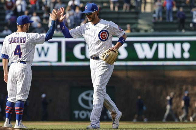 Chicago Cubs third baseman Kris Bryant (17), shown April 4, 2021, is hitting .267 with 18 home runs and 51 RBIs this season. File Photo by Kamil Krzaczynski/UPI