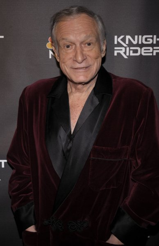 Hugh Hefner attends the Knight Rider cast party in Los Angeles on February 12, 2008. (UPI Photo/ Phil McCarten)