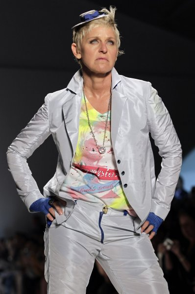 Ellen Degeneres walks on the runway in the Richie Rich fashion show at the Spring 2011 collections of Mercedes-Benz Fashion Week In New York City on September 9, 2010. UPI/John Angelillo