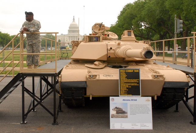 An M1A2 Abrams tank is on display on the National Mall near the U.S. Capitol in Washington on May 10, 2007. (UPI Photo/Roger L. Wollenberg)
