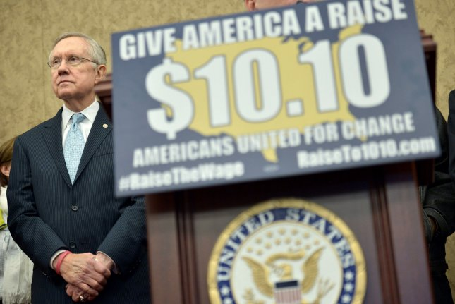Senate Majority Leader Harry Reid, D-Nev., attends a press conference on raising the minimum wage to $10.10 per hour, on Capitol Hill in Washington, D.C. on April 3, 2014. UPI/Kevin Dietsch