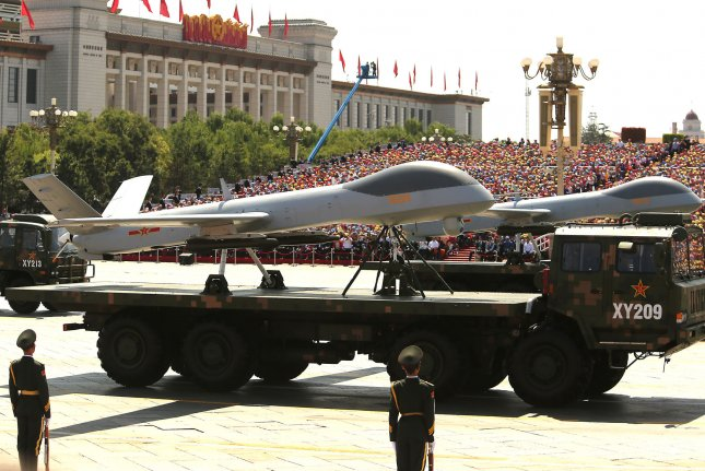 China showcased its drones in a massive parade marking the 70th anniversary of victory over Japan and the end of World War II in Beijing on Sept. 3. Monday, the Pakistan military said it deployed three locally made drones, killing three militants near the Afghan border. Photo by Stephen Shaver/UPI